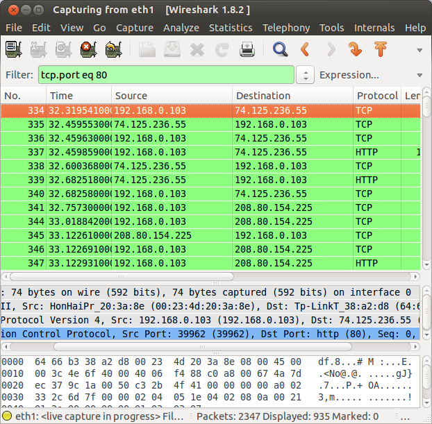 wireshark port filter