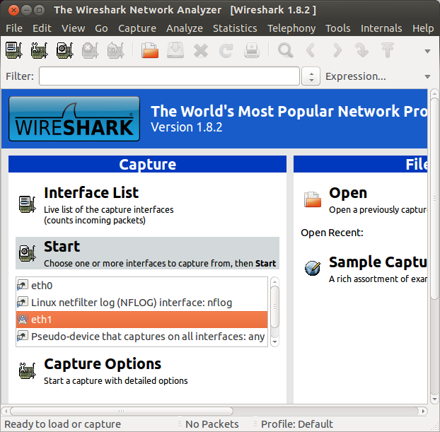 wireshark select interface