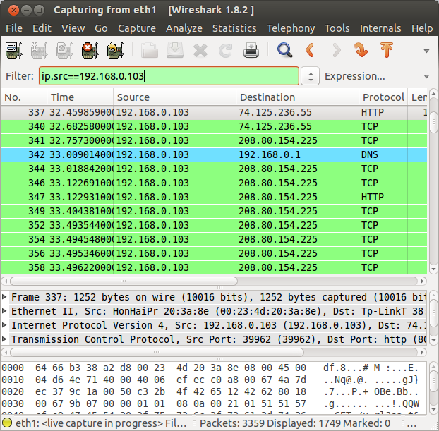 wireshark src ip filter